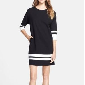 Vince. Black White Striped Shift Dress
